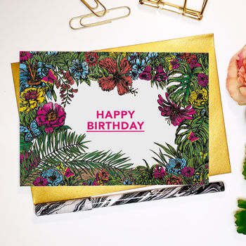 Tropical Flora 'Happy Birthday' Greeting Card