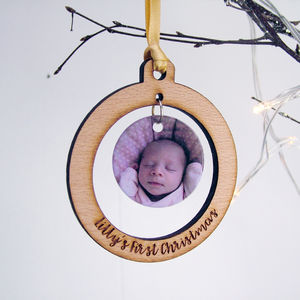 Baby's First Christmas Photo Bauble Personalised