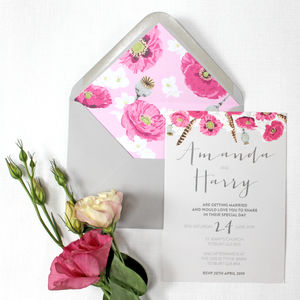 Pink And Grey Floral Wedding Invitations - view all new