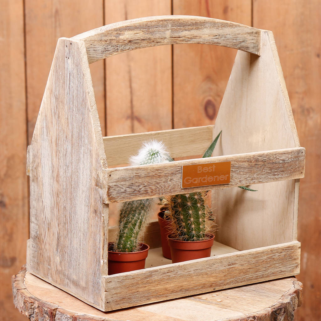 Personalised Oak Effect Wooden Garden Plant Carrier