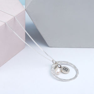 Hammered Silver Pendant Birthstone Necklace - necklaces & pendants