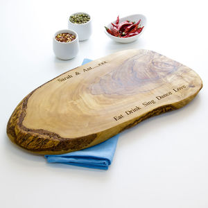 Personalised Rustic Olive Wood Chopping Board - cheese boards & knives