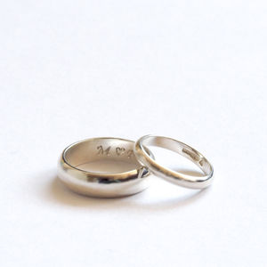 Personalised Wedding Rings In D Shape - rings