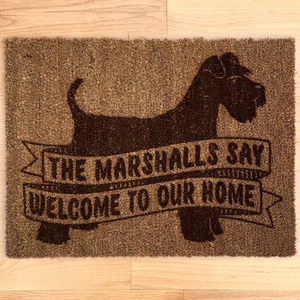 Personalised Dog Breed Doormat With Schnauzer - doormats