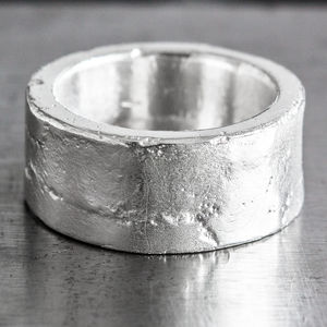 Personalised Sterling Silver 12mm Sand Cast Ring