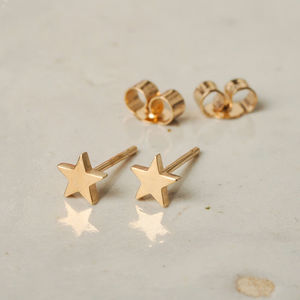 Little Solid Gold Star Studs
