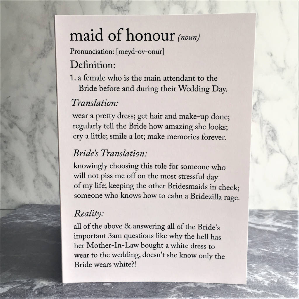 funny maid of honour definitions a5 card by the new witty ...
