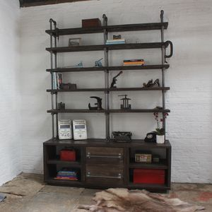 Dan Reclaimed Wood And Steel Storage And Shelving Unit - furniture