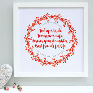 Personalised Mother Of The Bride Framed Print - art