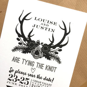 Boho Antlers Stationery Range - place cards
