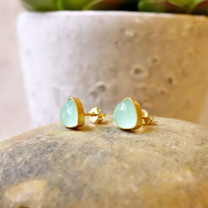 Aqua Gemstone Stud Earrings - earrings