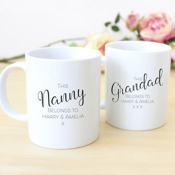 This Nanny And Grandad Belongs To… Personalised Mug Set