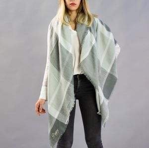 Monogramed Checked Blanket Scarf In Dove Grey - scarves
