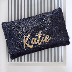 Black Or Navy Sequin Name Clutch