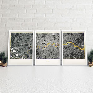 Set Of Three London Metallic Maps In Navy