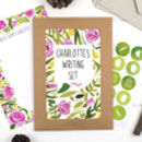 Personalised Rose Floral Writing Set