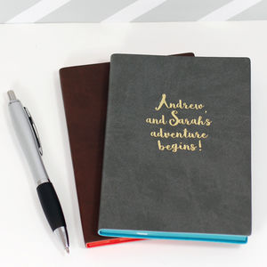 Personalised 'Adventure Begins' Pu Leather Notebook