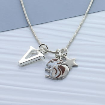 Kids Squirrel Personalised Necklace