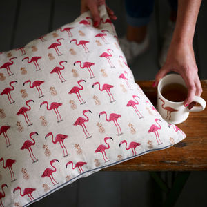 Pink Flamingo And Pineapple Print Cushion