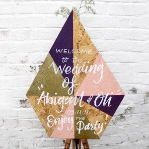 Geometric Diamond Welcome Wedding Sign - modern calligraphy for weddings