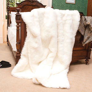 Sale Snowflake White Large Faux Fur Throw - winter sale