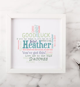 Personalised Good Luck Word Art Gift