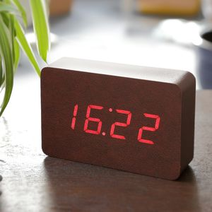Brick Leatherette Click Clock - bedroom