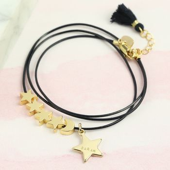Personalised Gold Moon And Star Bead Leather Bracelet