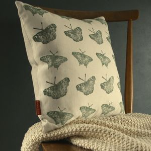 Butterfly Hand Printed Linen Cushion Cover - cushions