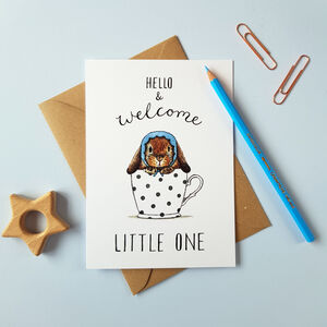 'Welcome Little One' New Baby Boy Card