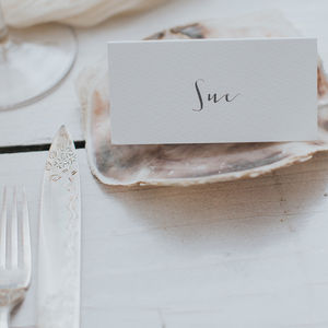 Calligraphy Style Place Cards - shoreline wedding trend