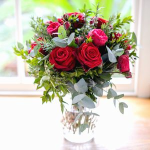 Garden Red Rose And Herb Luxury Bouquet - fresh flowers