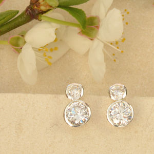 Double Sparkle Cubic Zirconia Earrings - earrings