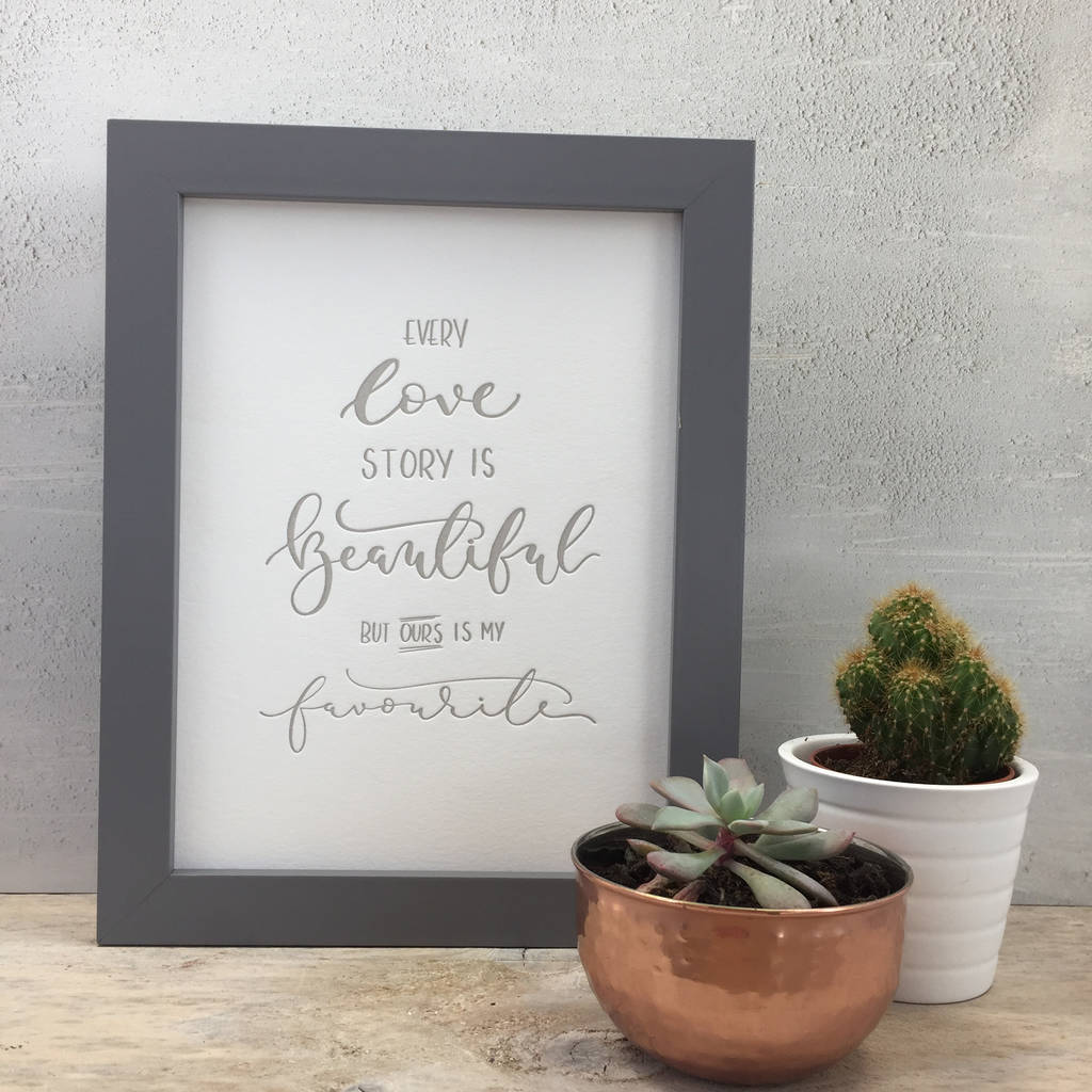 'Love Story' Letter Pressed Modern Calligraphy Wall Art