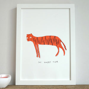 'Hungry Tiger' Illustrated Children's Print - animals & wildlife