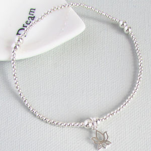 Sterling Silver Lotus Flower Beaded Bracelet