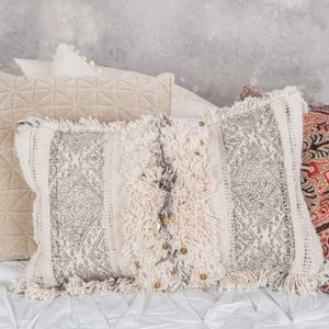 Cream Tassel Embroidered Floor Cushion - bedroom