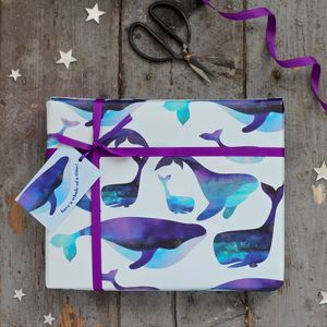 Watercolour Whales Gift Wrapping Set - wrapping paper