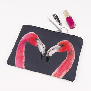 Flamingos Printed Silk Zipped Bag - make-up & wash bags