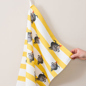 Monkey Stripe Tea Towel