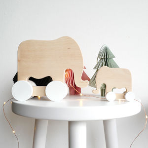 Handmade Wooden Elephant, Rabbit Or Cat Toy - gifts for babies