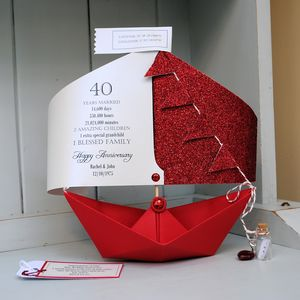 40th Ruby Wedding Anniversary Sail Boat Card