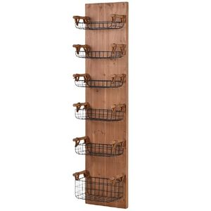 Wooden Wall Rack With Six Storage Basket Trays