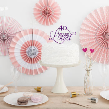 40 Years Loved Party Cake Topper Set