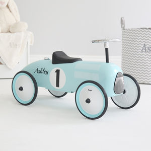 Blue Ride On Car - wedding stationery