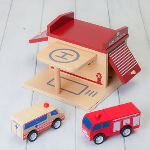 Wooden Construction Toy Fire Station Playset - play scenes