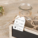 Farmhouse Glass Jars In A Chalkboard Box
