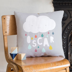 Personalised Cloud And Raindrops Nursery Name Cushion - christening gifts
