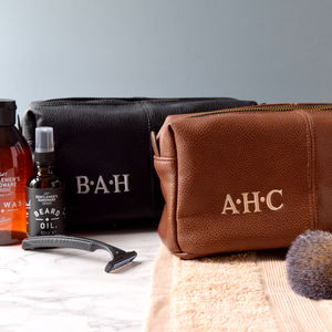 Personalised Leather Effect Men's Wash Bag - wash & toiletry bags