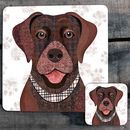 Brown Labrador Personalised Dog Placemat/Coaster